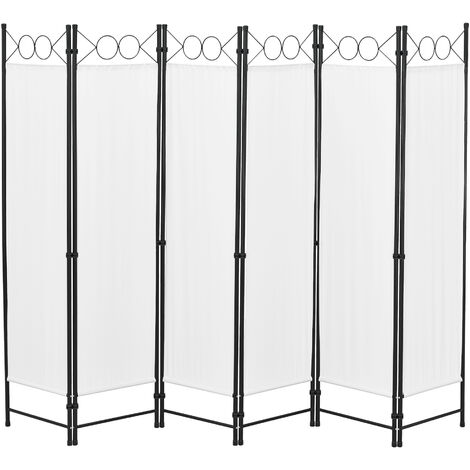 Biombo Separador de 6 Paneles Saragossa - 171 x 240 cm - Decoración Interior - Contra Visión - Mampara Lateral Protectora - Pantalla - Divisor de Habitaciones - Acero - Beige