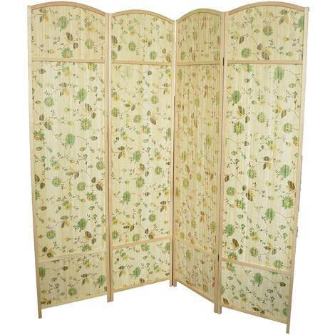 Biombo Separador de ambiente de Bambú Natural, estampado Floral, Grande. Ideal para Salón/Dormitorio (180 x 180 CM).-Hogarymas-