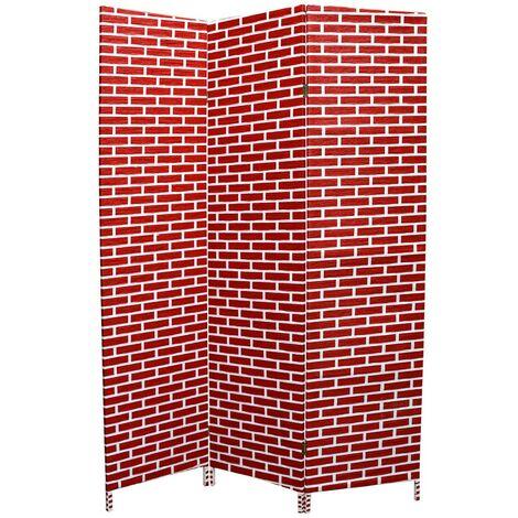 Biombo Separador de ambientes, bambú natural rojo/blanco, bastidores de madera para decoración, 180 x 135 cm - Hogar y más
