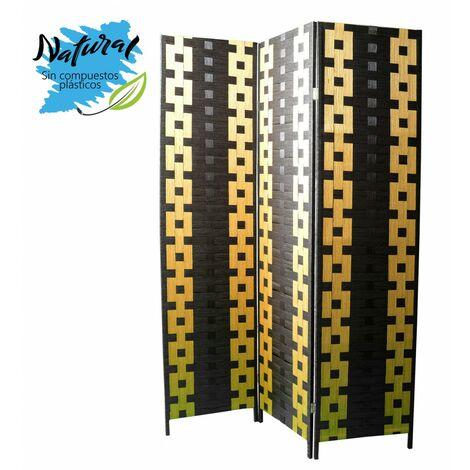 Biombo Separador de ambientes, Bambu y papel trenzado negro/amarillo 180 x 135 cm - Hogar y más.