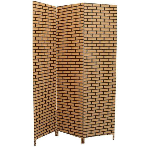 Biombo Separador de Ambientes, de Bambú, papel trenzado, Natural/Negro Urban, bastidores de madera 180 x 135 cm - Hogar y más