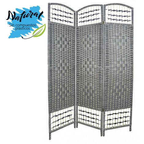 Biombo Separador de ambientes, Economico,Blanco y negro,Bambu Natural, 3 Paneles. Varias medidas.