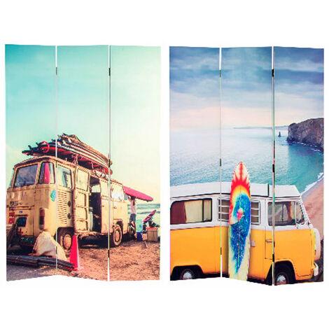 Biombo Separador de Ambientes, en fotoimpresión Lienzo Summer Surf, Bastidor de madera. Economico. Para salon. 180x115 cm.