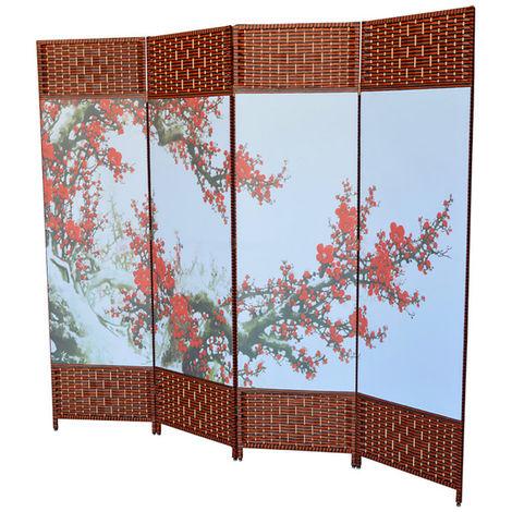Biombo Separador de ambientes Grande, Oriental Yokayo, Plegable. Para salon/ comedor. Estructura de Madera. 180x200 cm.