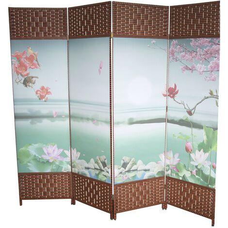 Biombo Separador de Ambientes, Grande y Plegable, 4 Paneles de Tela. Pintado con Paisaje. Para el recibidor. 180x200 cm.