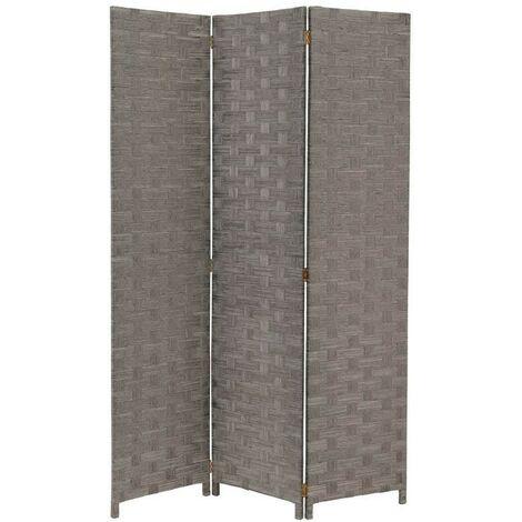 Biombo Separador de Ambientes, Gris de Papel Trenzado y Madera, Plegable de Tres Paneles. 175x120 cm. Hogar y Más