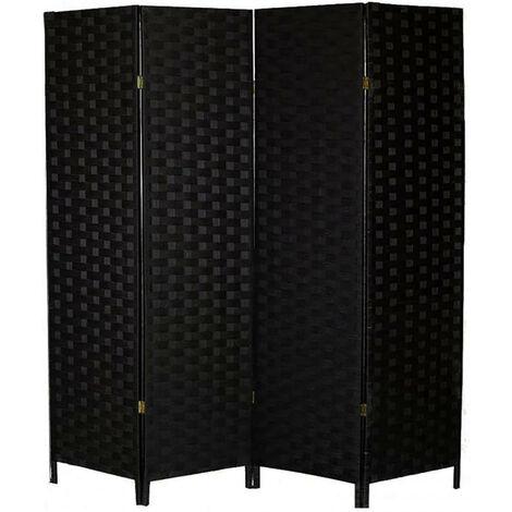 Biombo Separador de Ambientes Madera, Color Negro, Papel Trenzado, para Salón. Bastidor de madera 180X180cm Modelo - 4 Paneles