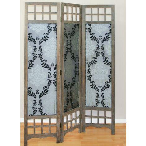 Biombo Separador de Ambientes madera Gris tabique divisor de decoración 3 paneles