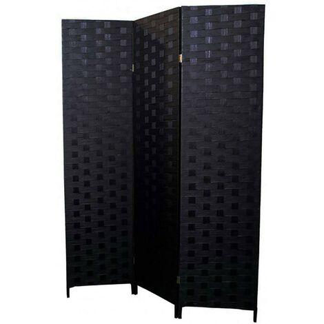 Biombo separador de Ambientes Negro de Bambú Natural para Dormitorio/ Salón 180x135 cm