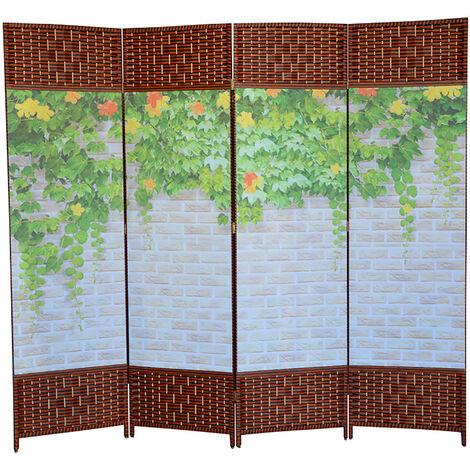 Biombo Separador de Ambientes, Oriental Toyako Foral, Plegable 4 Paneles. Colocar en Salon/Dormitorio. 180x200 cm.