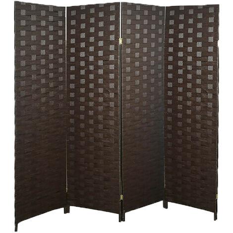 Biombo Separador de Ambientes Plegable, Marrón Oscuro, Papel Trenzado para Salón. 4 Paneles, Bastidor de Madera. 180x180cm Modelo - 4 Paneles