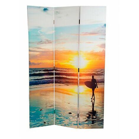 Biombo Separador de Ambientes, Tropic Beach fotoimpresión, Economico, para comedor/salon, 180x120 cm