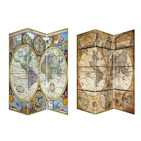 Biombo Separador de ambientes,Mod. Mapa Mundi. Fotoimpresión, montado sobre bastidores de madera.