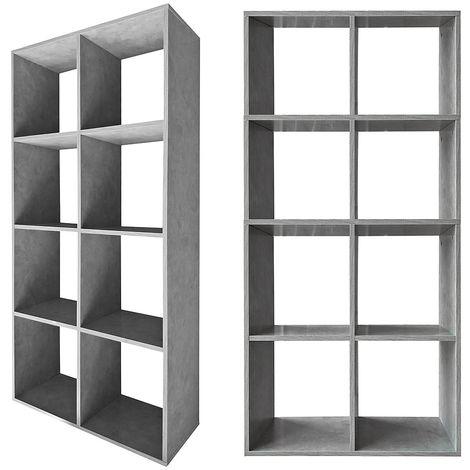 Biombo Separador de habitaciones Estante de libros 8 compartimentos Gris Estante de pie Estante de pared Separador de ambiente Oficina