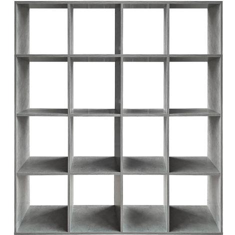 Biombo Separador de habitaciones Estante de libros Blanco 16 compartimentos Librería Estantería de libros Estante de pared Separador