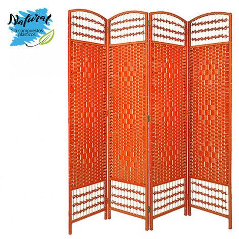 Biombo Separador de Junco Natural, Madera color Naranja, para Vestidor/ Habitacion. Economico. (170cm X 160cm) - Hogar y Más