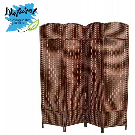 Biombo Separador de Madera Bambú y papel trenzado, Marrón chocolate, 4 Paneles, Plegable 180 cm