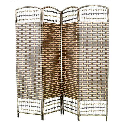 Biombo Separador de Madera Bambú y papel trenzado, Marrón chocolate y natural, 4 Paneles, Plegable 180 cm