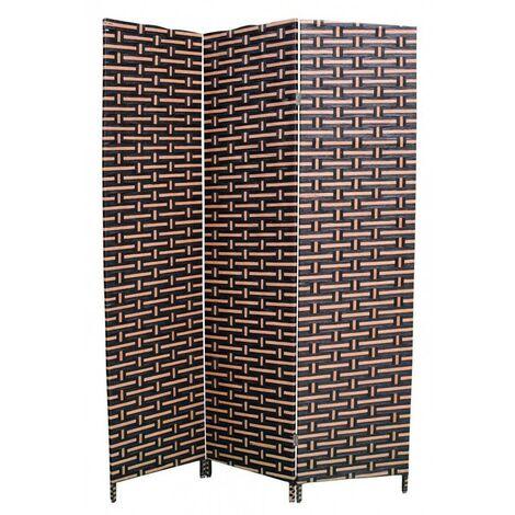 Biombo Separador, Economico, Negro/Avellana, de papel trenzado, bastidores de madera para decoración 180 x 120 cm - Hogar y más