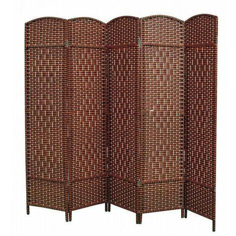 Biombo Separador Economico, para Dormitorio/Salón de Bambú Natural y papel trenzado, en Naranja y Wenge. 180 x 225 cm.