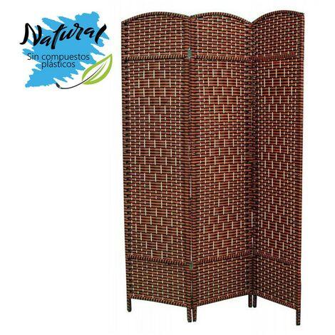 Biombo Separador, Economico, para Dormitorio/Salón de Bambú Natural y papel trenzado, en Naranjas y Wenge, 180 x 135 cm.