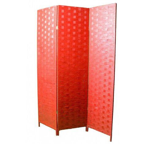 Biombo separador, economico, trenzado rojo con hilos amarillos, montado sobre bastidores de madera tres paneles 180 x 135 cm