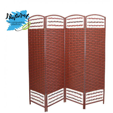 Biombo Separador Grande, Bambú Natural, cerezo/ negro. Para salon/dormitorio. 180x180 cm - Hogar y más