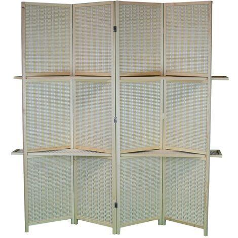 Biombo Separador, Grande, Practico con estanterías de madera y Bambú Natural de 4 paneles. 170x160 cm.