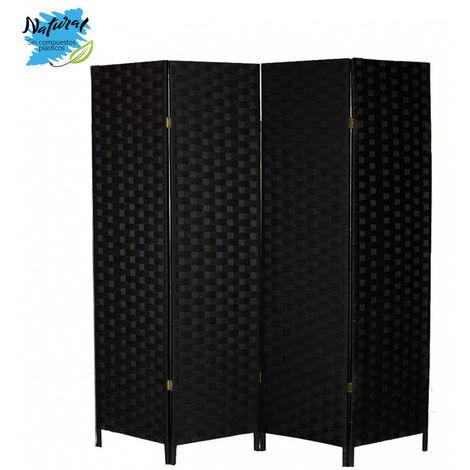 Biombo Separador Negro, Papel Trenzado, para Salon. Bastidor de madera y Patas de Acero (180cm X 180cm X 6cm) - Hogar y Más