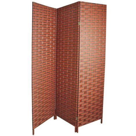 Biombo separador para Salón/Dormitorio, Bambú Natural y papel trenzado Tonos Wengue y Naranjas.180 x 135 cm - Hogar y más