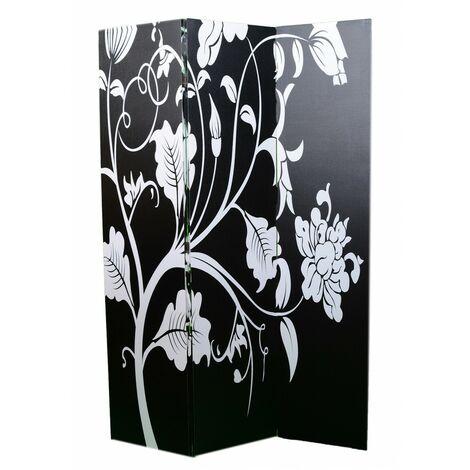 Biombo separador Secret Spring/Design Viwin. Para Salón/Dormitorio. Blanco y negro.