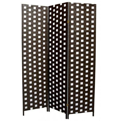 Biombo Separdor de Ambientes, trenzado marrón/banco, bastidor de madera para decoración 180 x 135 cm - Hogar y más