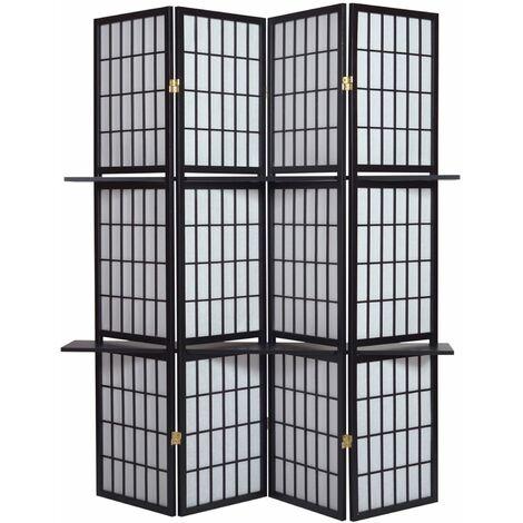 Biombo Shoji madera negro con estantes y papel de arroz 4 paneles - Dim : A 178,6cm