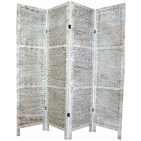 Biombo trenzado en Jacinto de Agua 4 paneles color blanco - A 170 x A160 cm