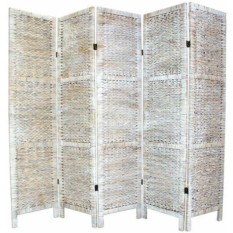 Biombo trenzado en Jacinto de Agua 5 paneles color blanco - A170 x A200 cm