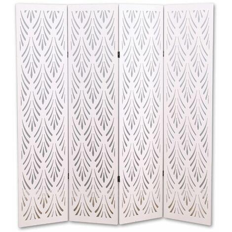 Biombo vegetal de madera compuesta 4 paneles, color blanco A170 x A160cm
