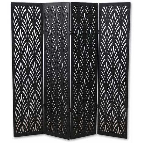 "main image of ""Biombo vegetal de madera compuesta 4 paneles, color negro A170 x A160cm"""