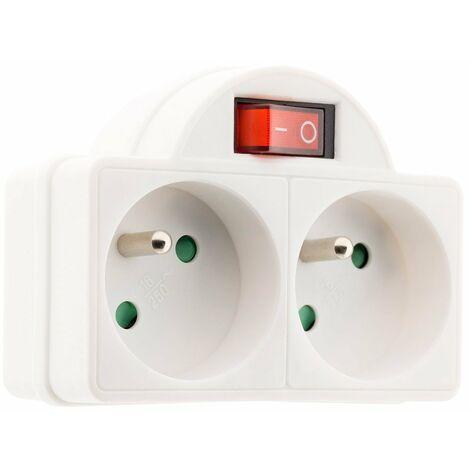 Biplite 16A 2P+T avec interrupteur façade Blanc