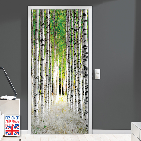 Birch Pillars Door Mural Sticker Europe Size 90Cm X 200Cm