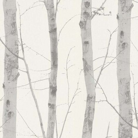 Birch Tree Wallpaper Silver White Grey Deluxe Textured Vinyl Glitter Tropical