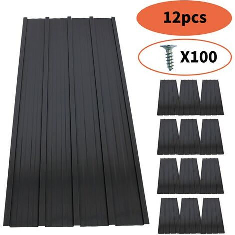"""main image of """"BIRCHTREE 12x Metal Roof Sheets 1200x516mm RSS01 Black"""""""