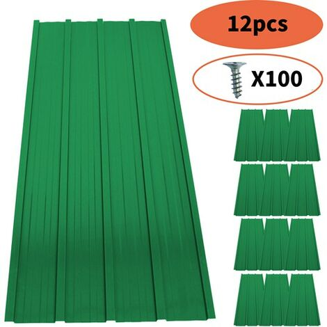 """main image of """"BIRCHTREE 12x Metal Roof Sheets 1200x516mm RSS01 Green"""""""