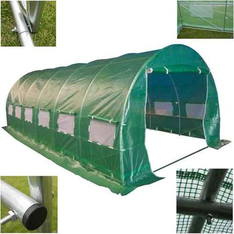 BIRCHTREE 6M (L) x 3M (W) x 2M (H) Polytunnel Greenhouse Galvanised 25mm Frame 6 Section
