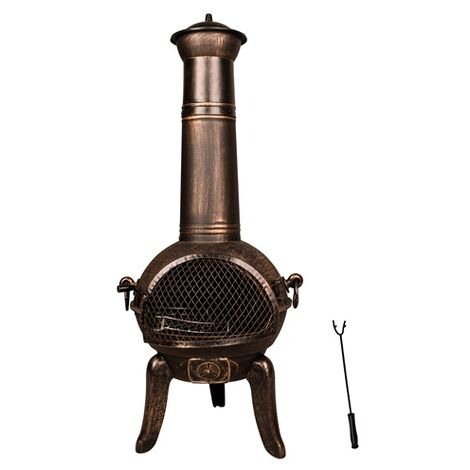 BIRCHTREE Cast Iron Steel Chimenea Chiminea Chimnea Patio Heater Fire Pit Gold Antique