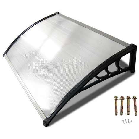 BIRCHTREE Door Canopy Black Frame 120cm x 80cm