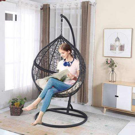 BIRCHTREE Egg Swing Chair Rattan ESWR01 Black