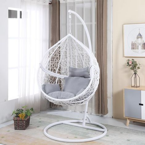 BIRCHTREE Egg Swing Chair Rattan ESWR01 White