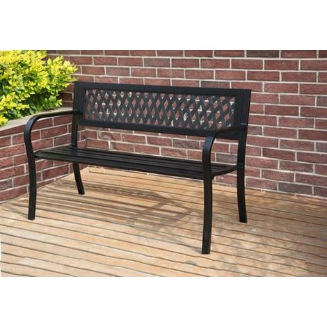 BIRCHTREE Garden Bench Steel Lattice Style C072 Black