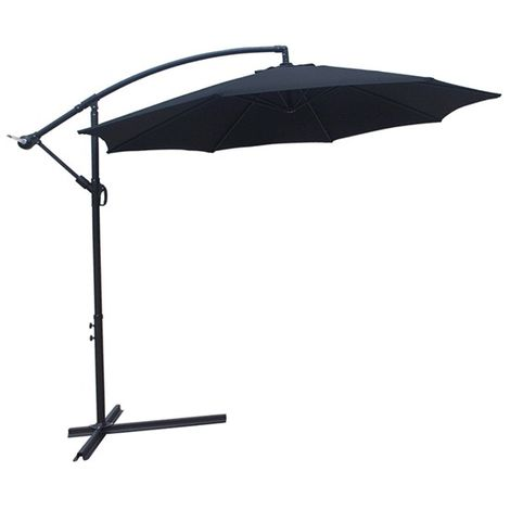 BIRCHTREE Garden Parasol Sun Shade Umbrella 3m Black