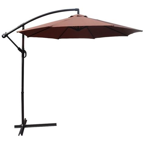 BIRCHTREE Garden Parasol Sun Shade Umbrella 3m Coffee